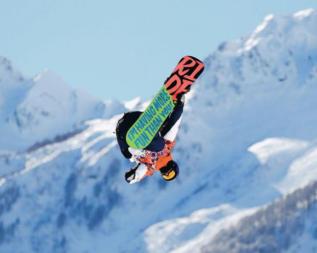 LIFT-OFF: Great Britain's Billy Morgan during Snowboard Slopestyle practice at the the Rosa Khutor Extreme Park