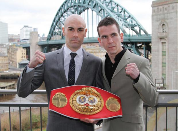 Darlington's Stuart Hall, left, with world title contender, Martin Ward, at the press conference in Gateshead