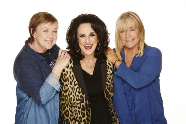 Lesley Joseph as her Birds Of A Feather character Dorien Green with co-stars Pauline Quirke and Linda Robson