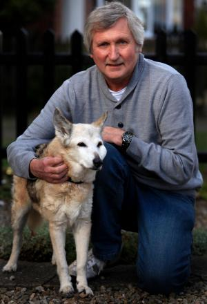 LONG LIFE: Shepherd-Whippet cross Sindy, with owner Dave Spence