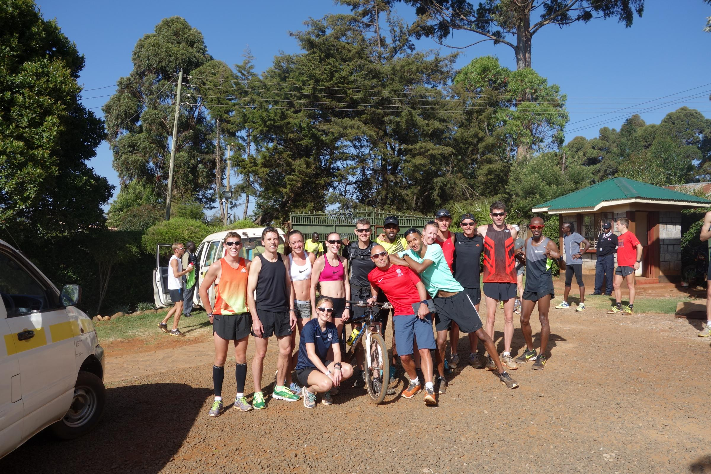 AFRICAN BASE: Laura Weightman (centre) pictured with other British athletes in the Kenyan town of Iten, including Mo Farah (far right)