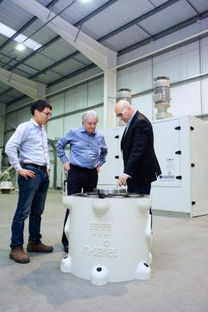 IIT's Tom Wilkinson, middle, with Alex Koszo, Vecor managing director, right, and left, Peter Ma, V-tong plant engineer