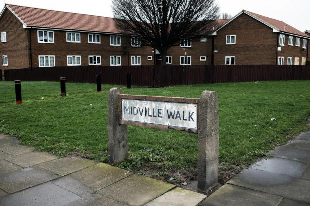 Midville Walk, Middlesbrough, where the man was discovered
