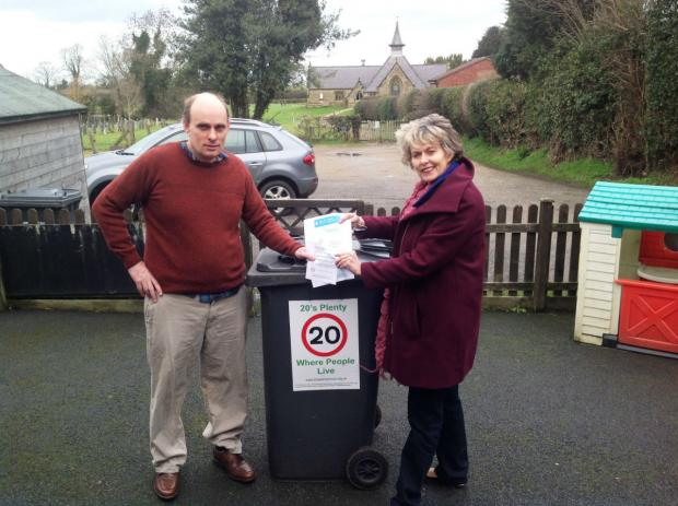 Road safety campaigner Jonathan Tulloch and Anne McIntosh MP launch the 20mph speed limit campaign in Bagby