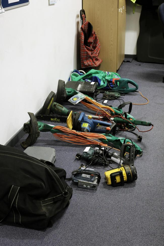 Recovered stolen goods at Middlesbrough Police Station