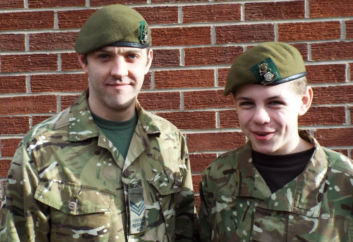 Stokesley Army Cadets appeal for adult volunteers: (L-R) Volunteer instructor Matthew Guy and Cadet Euan French