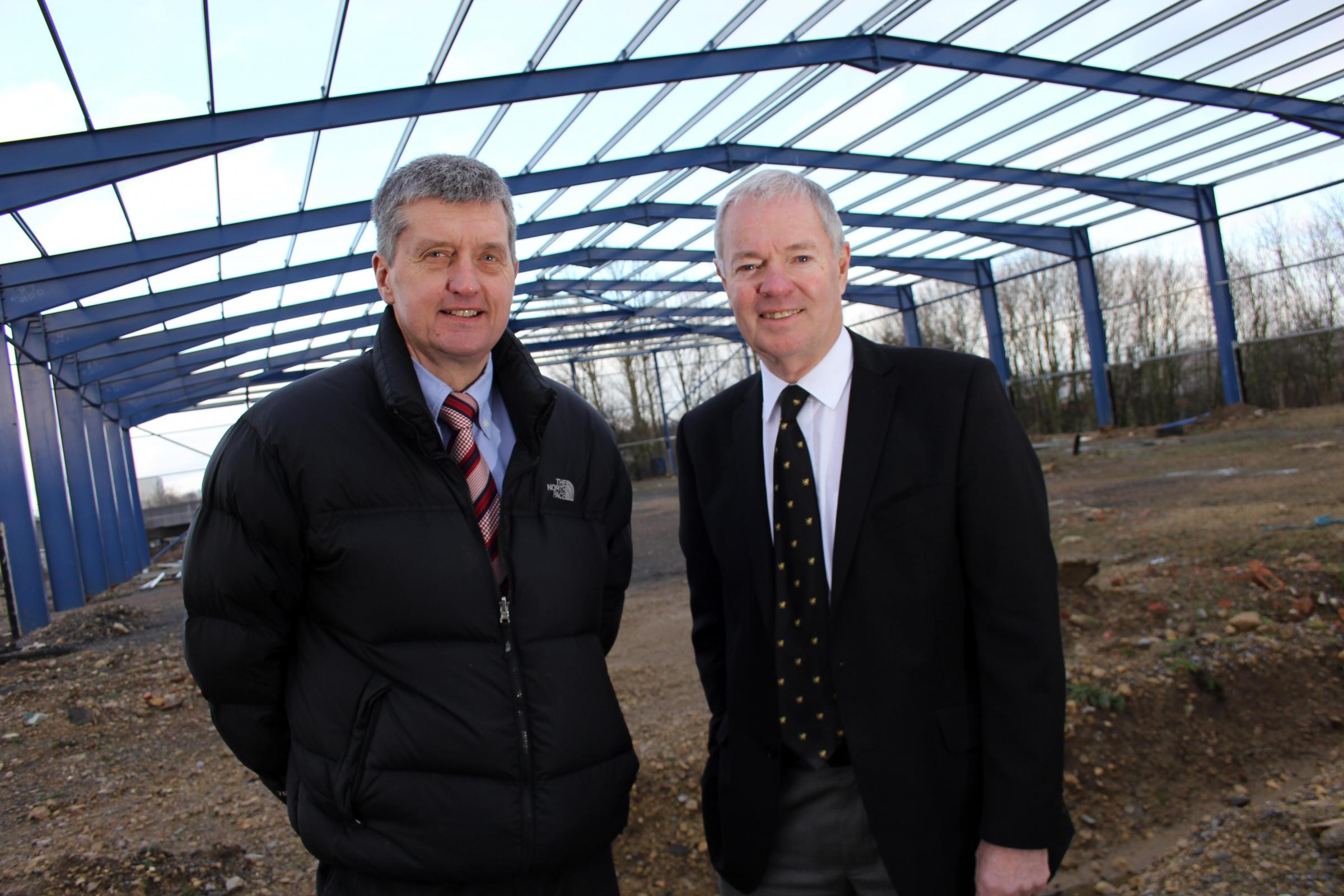 Stiller Warehousing and Distribution managing director Paul Stiller and Andrew Winney, director and company secretary, at the firm's new facility which is currently being constructed