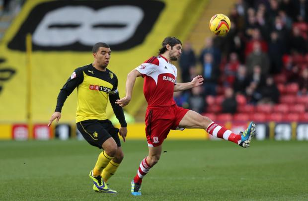 BLANK BORO: George Friend on the ball during Saturday's defeat at Watford - Boro's fifth game in a row without scoring