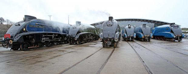 SIX SISTERS: The A4 steam locomotives at The National Railway Museum at Shildon, County Durham