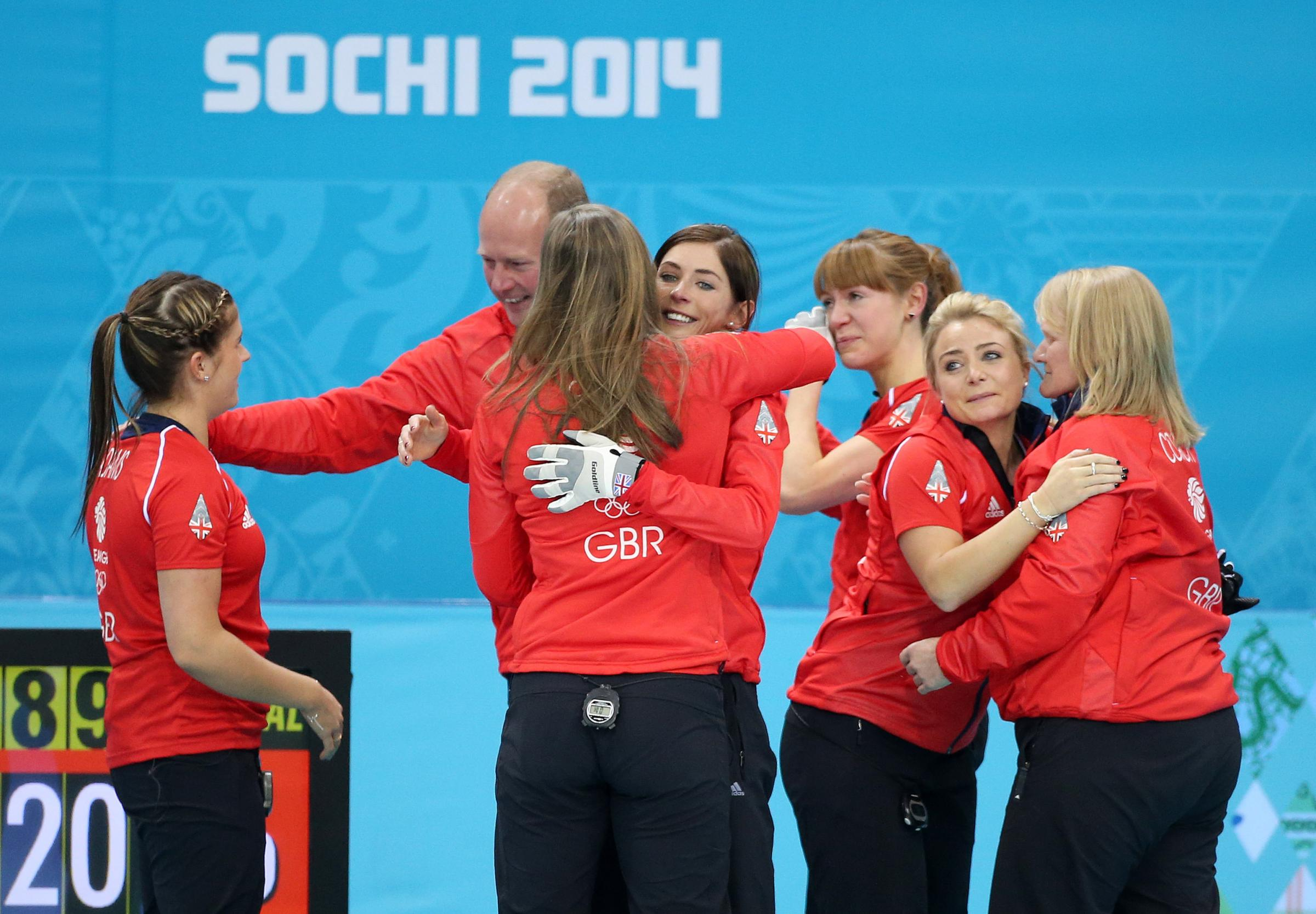 Team GB women celebrate their bronze medal victory over Switzerland