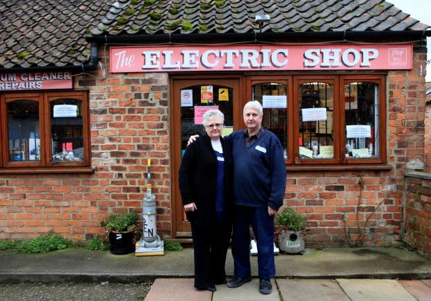 The Northern Echo: The Electrical shop in Thirsk which brought power to Thirsk and Catterick Garrison set to close after 91 years, pictured owners David and Susan Higgs