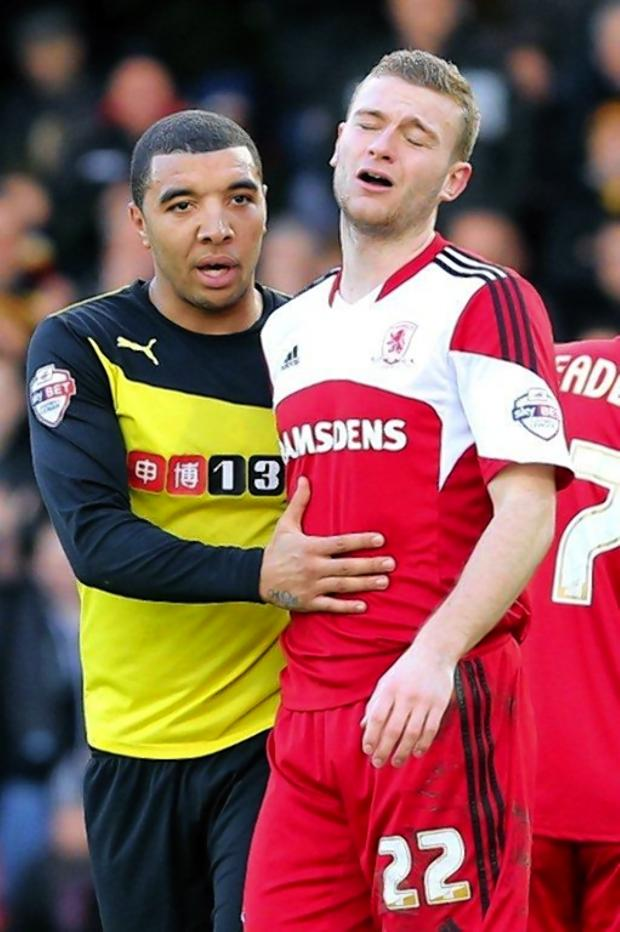The Northern Echo: Watford striker Troy Deeney with Middlesbrough's Ben Gibson, who had just been sent off. Picture: Dave Peters.