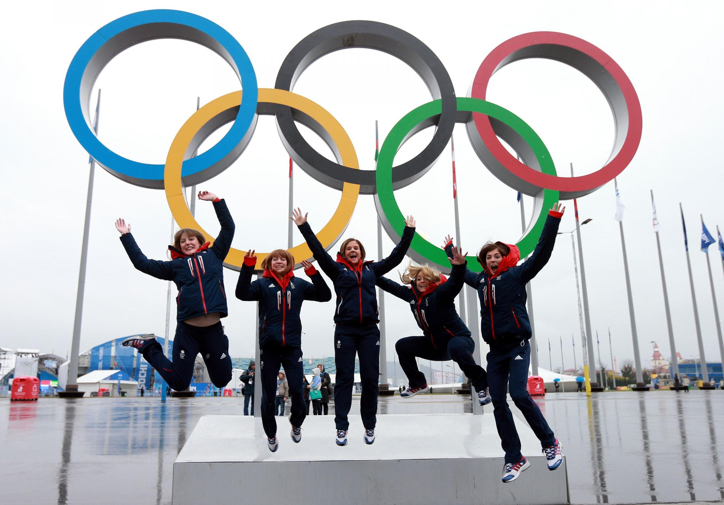 Great Britain's (left to right) Lauren Gray, Claire Hamilton, Vicki Adams, Anna Sloan and Eve Muirhead are all smiles at Olympic Park in Sochi, Russia