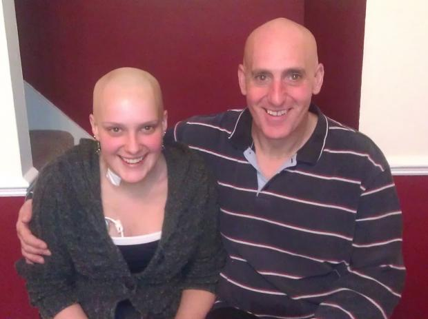 Helen Hogg pictured during her cancer treatment with father Kevin Wintersgill