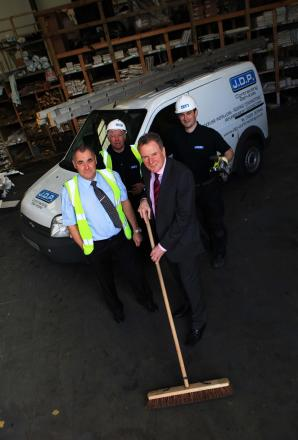 JDP Contracting Services is setting up a DIY SOS challenge, from left, Bryan Davies, community engagement officer, Tony Herring, site supervisor, managing director Chris Hyde, and David Etherington, trade shop manager