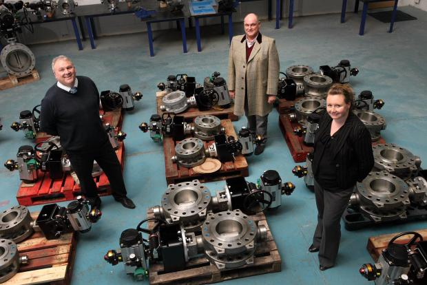 Pictured from left to right are Evolution directors Peter Cone and Steve Heap, with UK Steel Enterprise's Sarah Thorpe