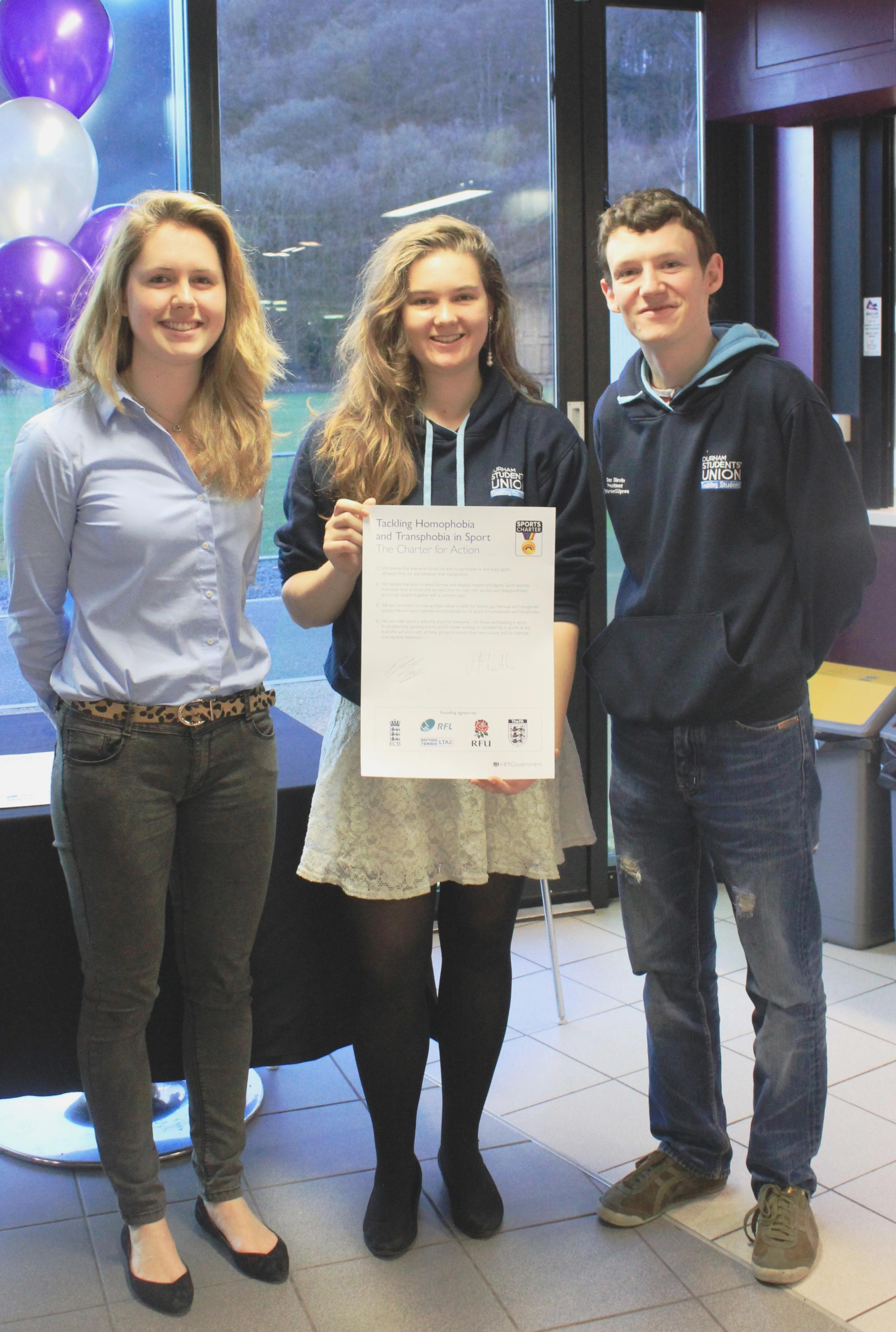 Hannah Lowther, president of Team Durham, Grace Abel, community officer at Durham Students' Union, and Dan Slavin, president of Durham Stud