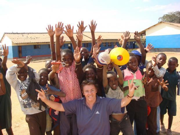 Northumbria University academic, Ruth Crabtree,  working on a sports education project in Zambia