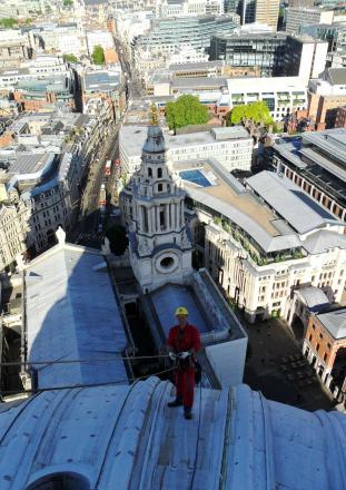 Grahame Stone, who operates the business with brother Dave, works on the dome at St Paul's Cathedral