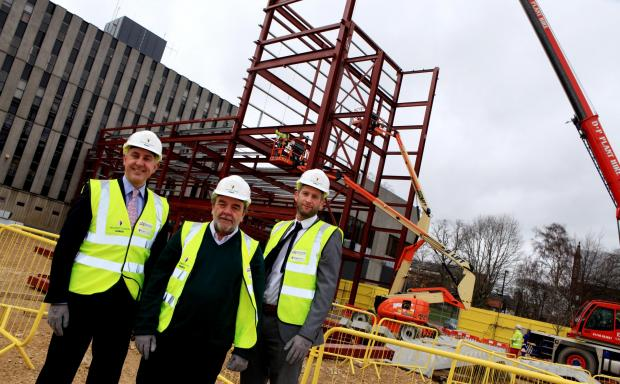 Darlington Borough Council leader Bill Dixon, centre, with Andrew McCully, left, of the Department for Education and project manager Shaun McNicholas, of building contractor Willmott Dixon