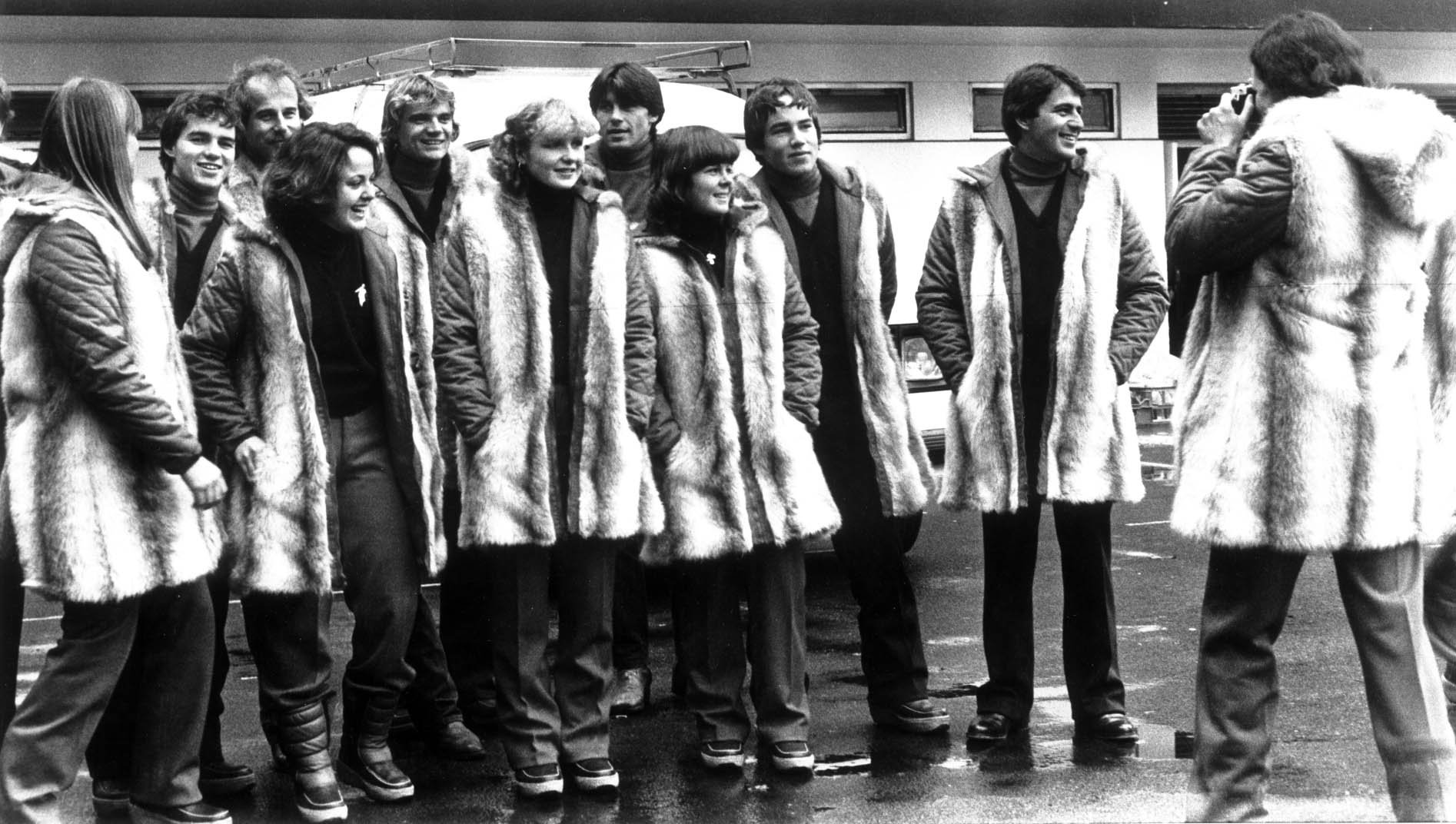 Members of the British alpine ski team wear their Shildon-made Astraka furs at the 1980 Winter Olympic Games in Lake Placid