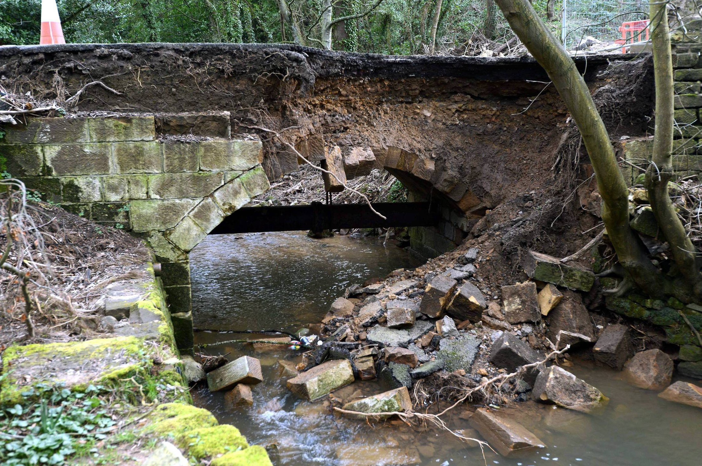 CAUSING PROBLEMS: The damaged bridge