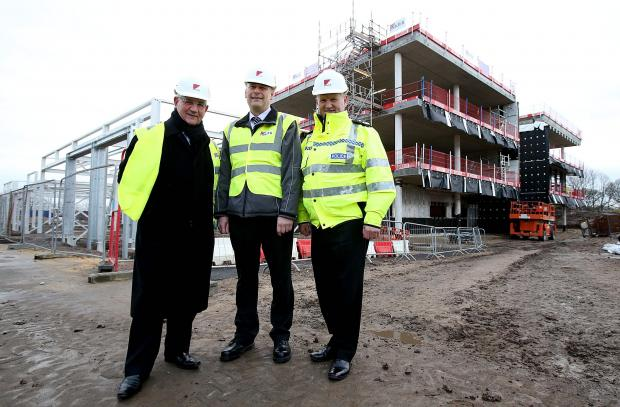 Police and Crime Commissioner Ron Hogg, left, Chief Constable Mike Barton, right, with Kier project manager Stuart Semple on a tour of the new Durham Police headquarters