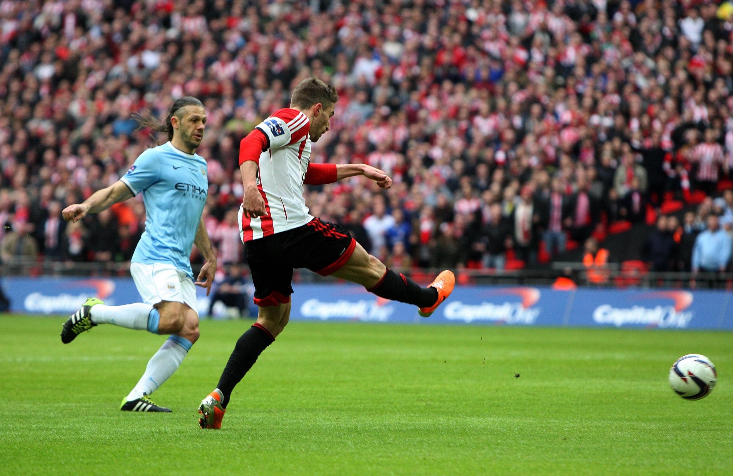 JOYFUL MOMENTS: Fabio Borini fires Sunderland ahead