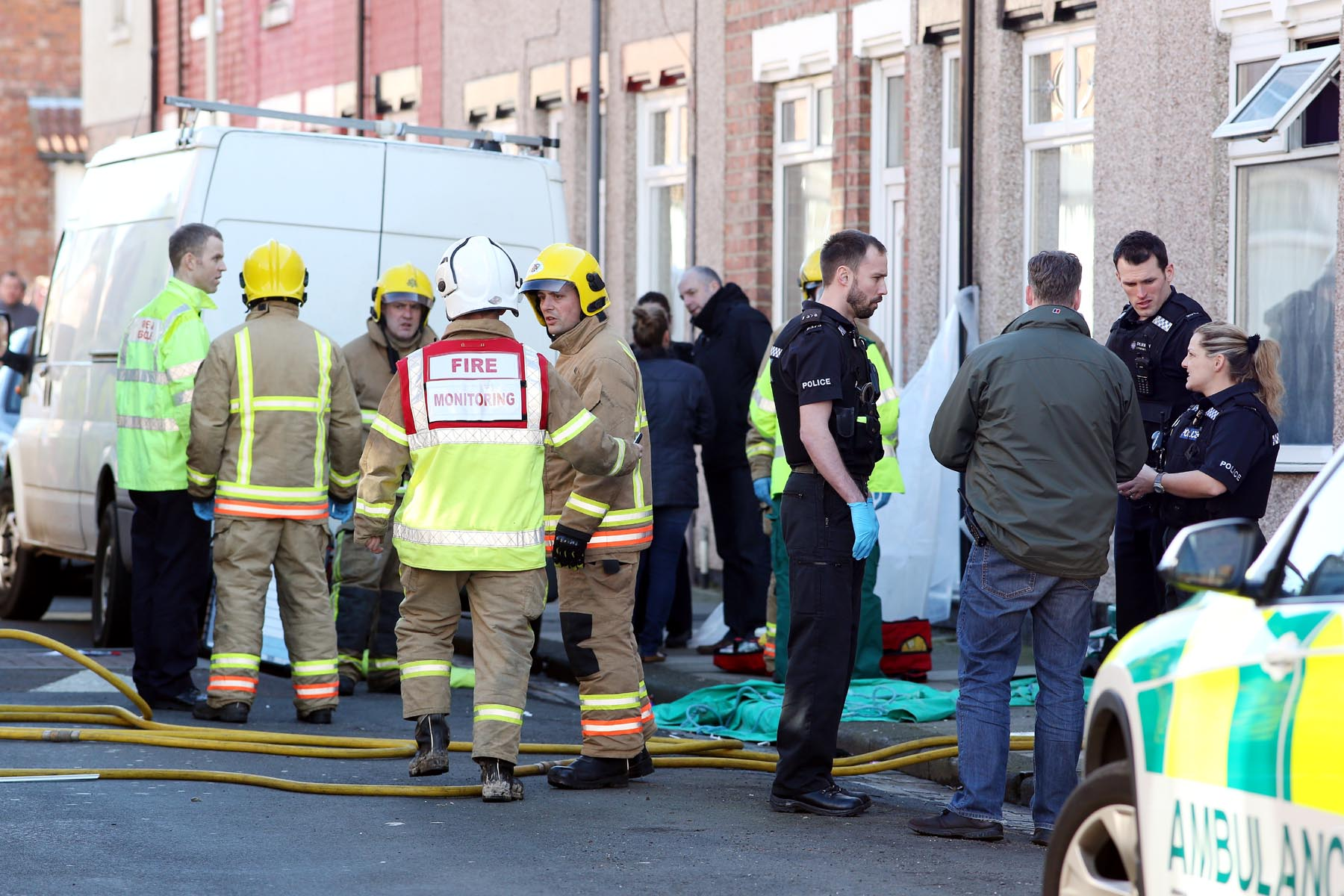 BLAZE AFTERMATH: The scene in Brunton Street, Darlington, on Saturday