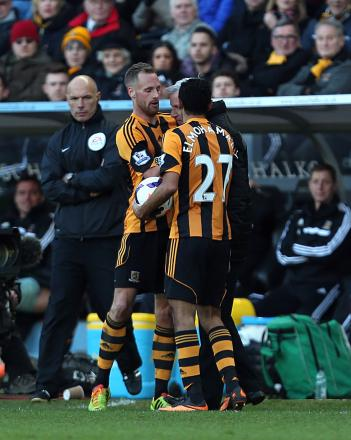 FLASHPOINT: Alan Pardew clashes with Hull City midfielder David Meyler last Saturday