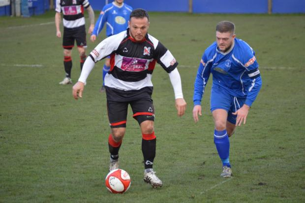 ON THE ATTACK: Stephen Thompson looks for an opening during Saturday's 2-0 win at Padiham
