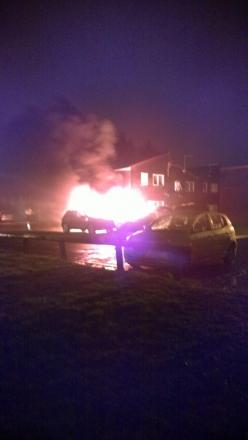A Freelander Discovery went up in flames at Skipton Close in Newton Aycliffe