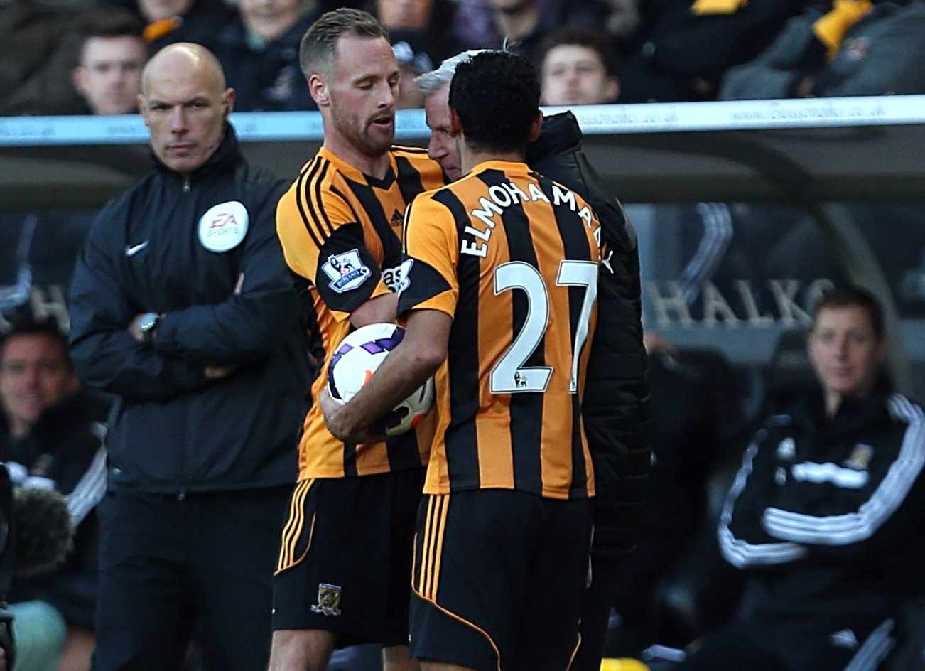 HEAD TO HEAD: Alan Pardew and David Meyler clashed on the to