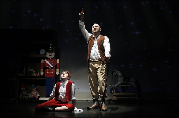 Joel Pitcher as Pinocchio and Bryan Cutter as Jeppetto at Billingham Forum