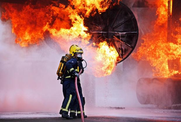 Airport staff train at the International Fire Training Centre, which is operated by Serco
