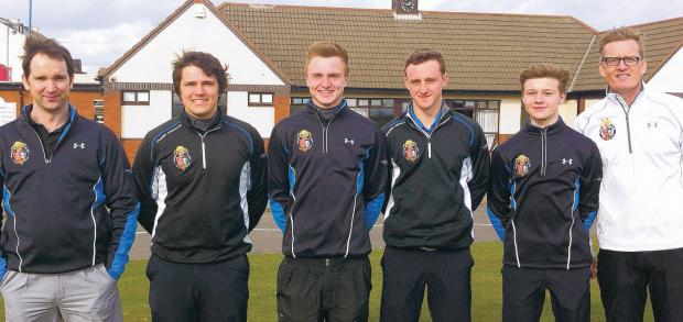 LEARNING CURVE: Hartlepool College of Further Education's assistant academy coach Jeff Musgrove, Tom Nicholson, Robbie Bailey, Matthew Davison, James Richardson and academy coach Clifford Jackson who take part in the British Colleges Sport Open Champion