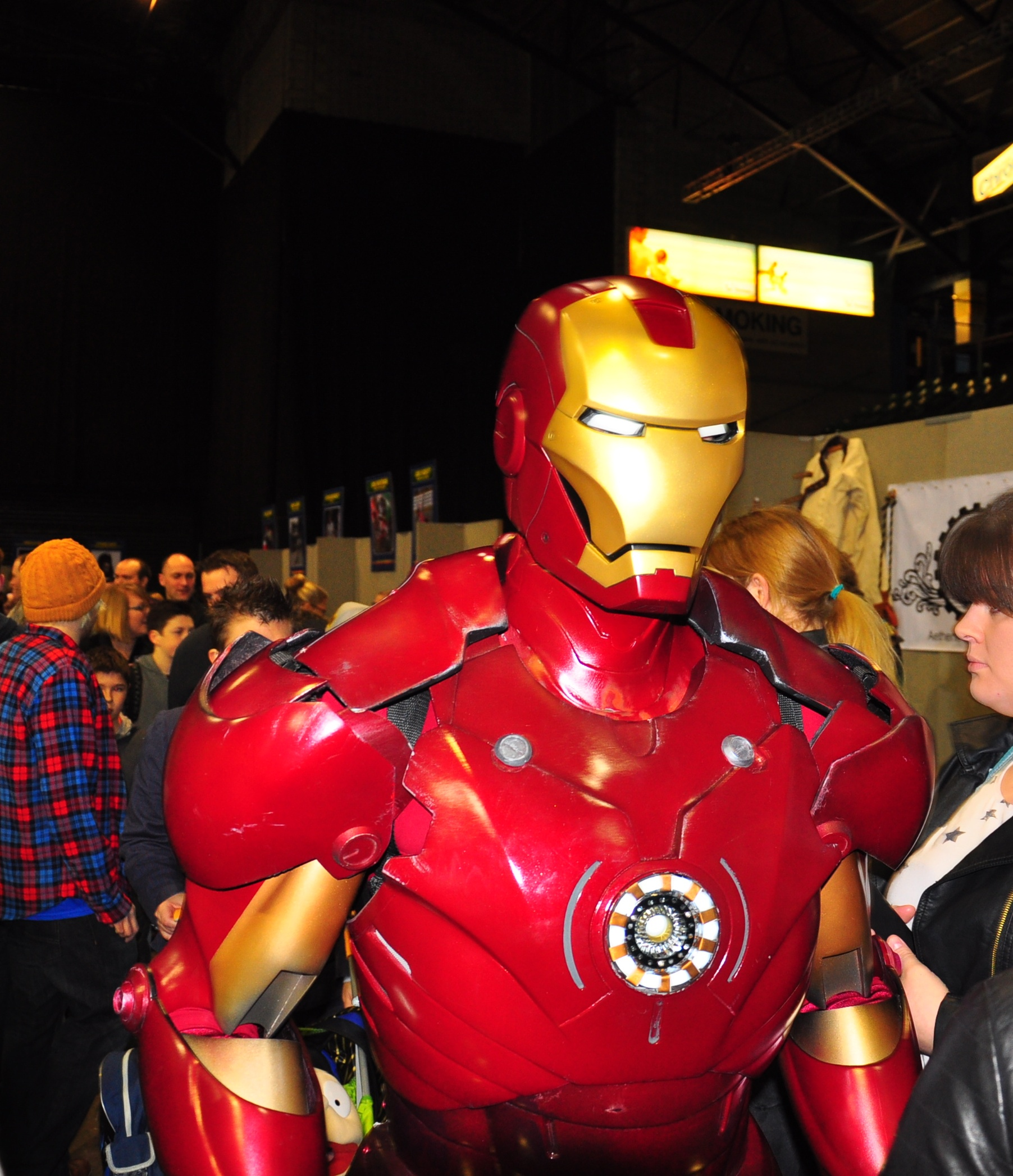 Iron Man mingles with fans at the film and comic convention. Picture by Paul Vasey