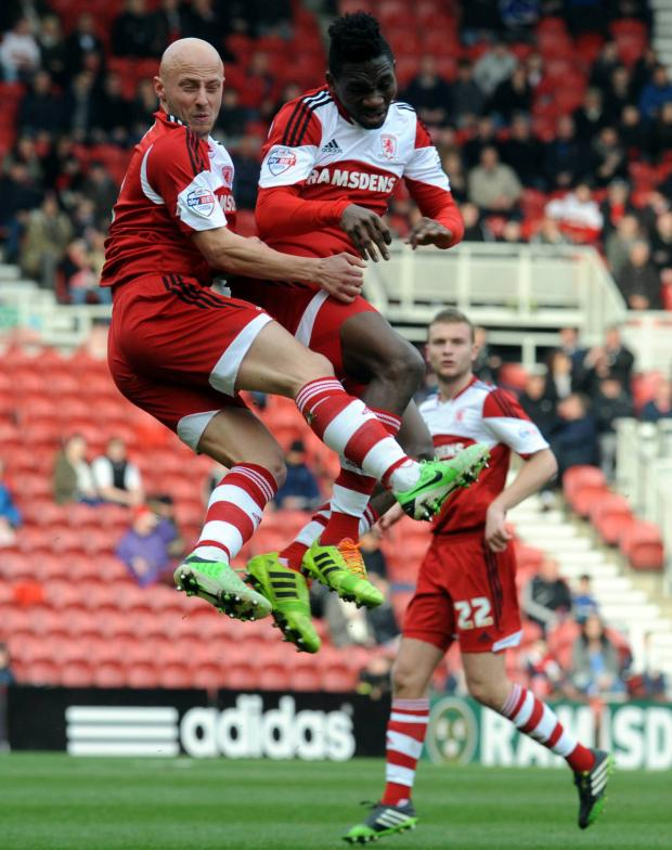 The Northern Echo: ONE OF YOU: Jozsef Varga and Kenneth Omeruo go for the same ball during Saturday's 2-0 win over Ipswich Town