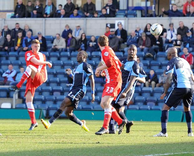 VOLLEY GOOD: Jack Barmby fires in Hartlepool's goal at Wycombe