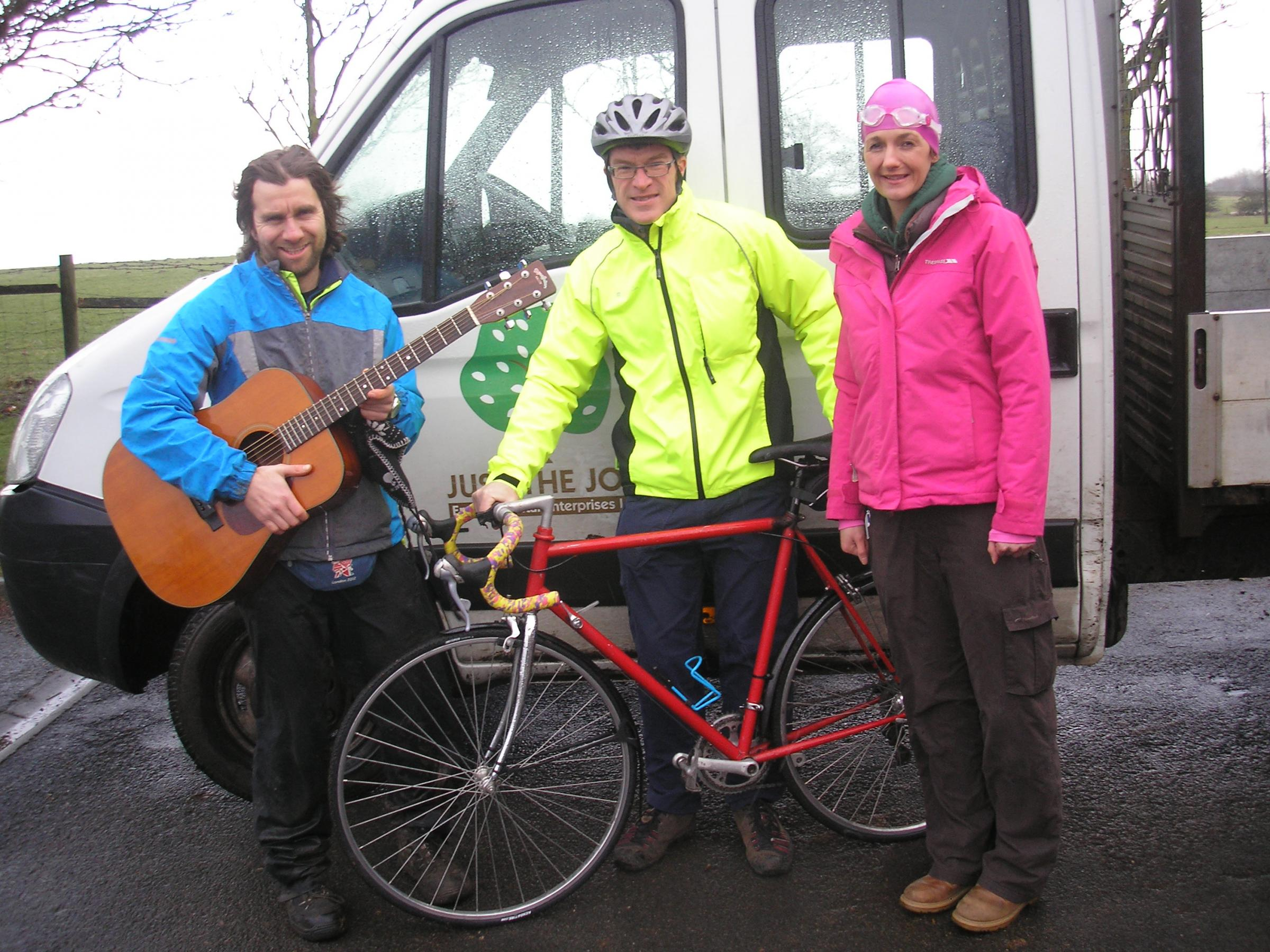Just-the-Job fundraisers, from left, singer Andy D'Arcy, cyclist Steve Biggs and swimmer Clare Atkinson.