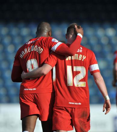 PARTNERS: Marlon Harewood with Jack Barmby after the striker created a goal for the Manchester United loanee at Wycombe on Saturday