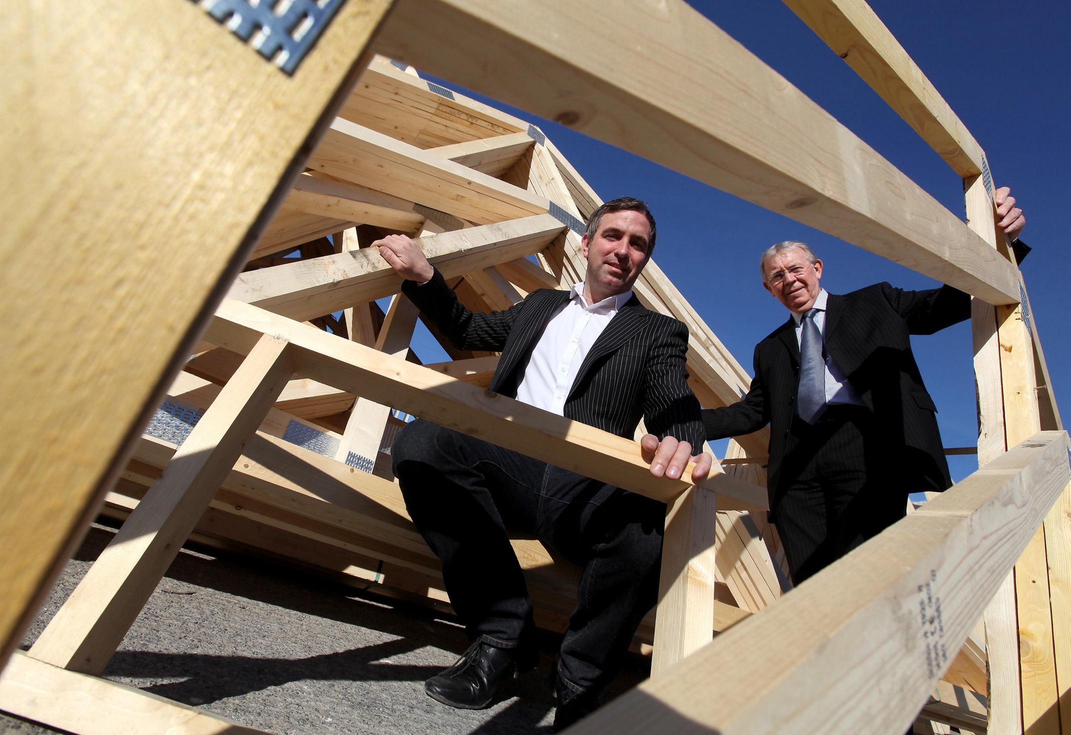 From left: Steve Harris of Fencehouse Truss wth Cllr Hary Trueman, Deputy Leader of Sunderland City Council