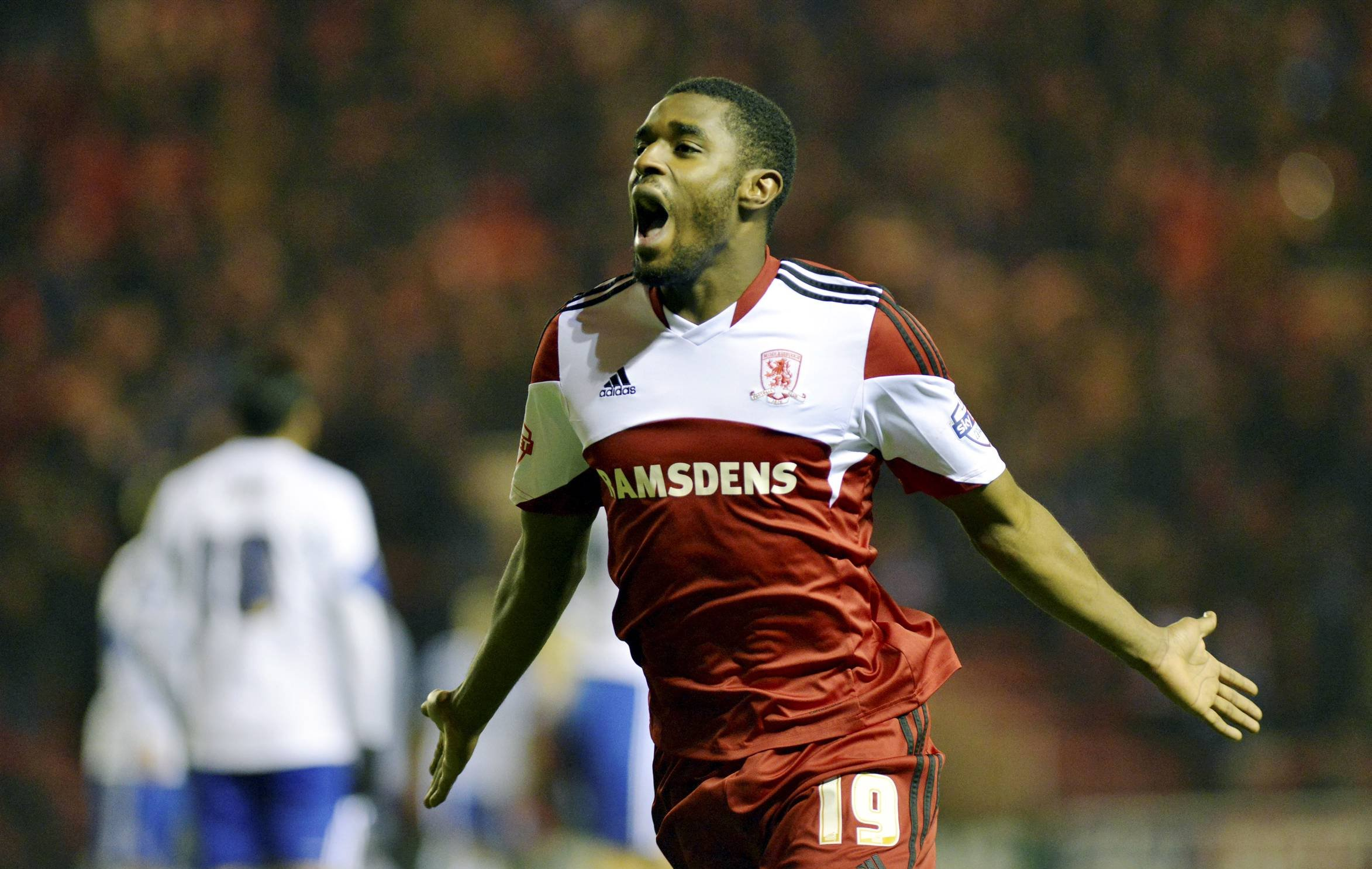 ONE UP: Boro's man of the match Mustapha Carayol after putting his side 1-0 up against Forest in the 53rd minute last night