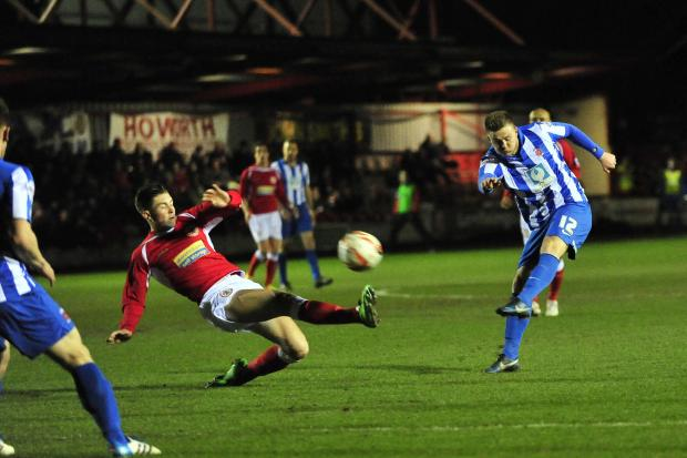 POT SHOT: Hartlepool United's Jack Barmby has a shot at goal during last night's 0-0 draw at Accrington Stanley at the Crown Ground
