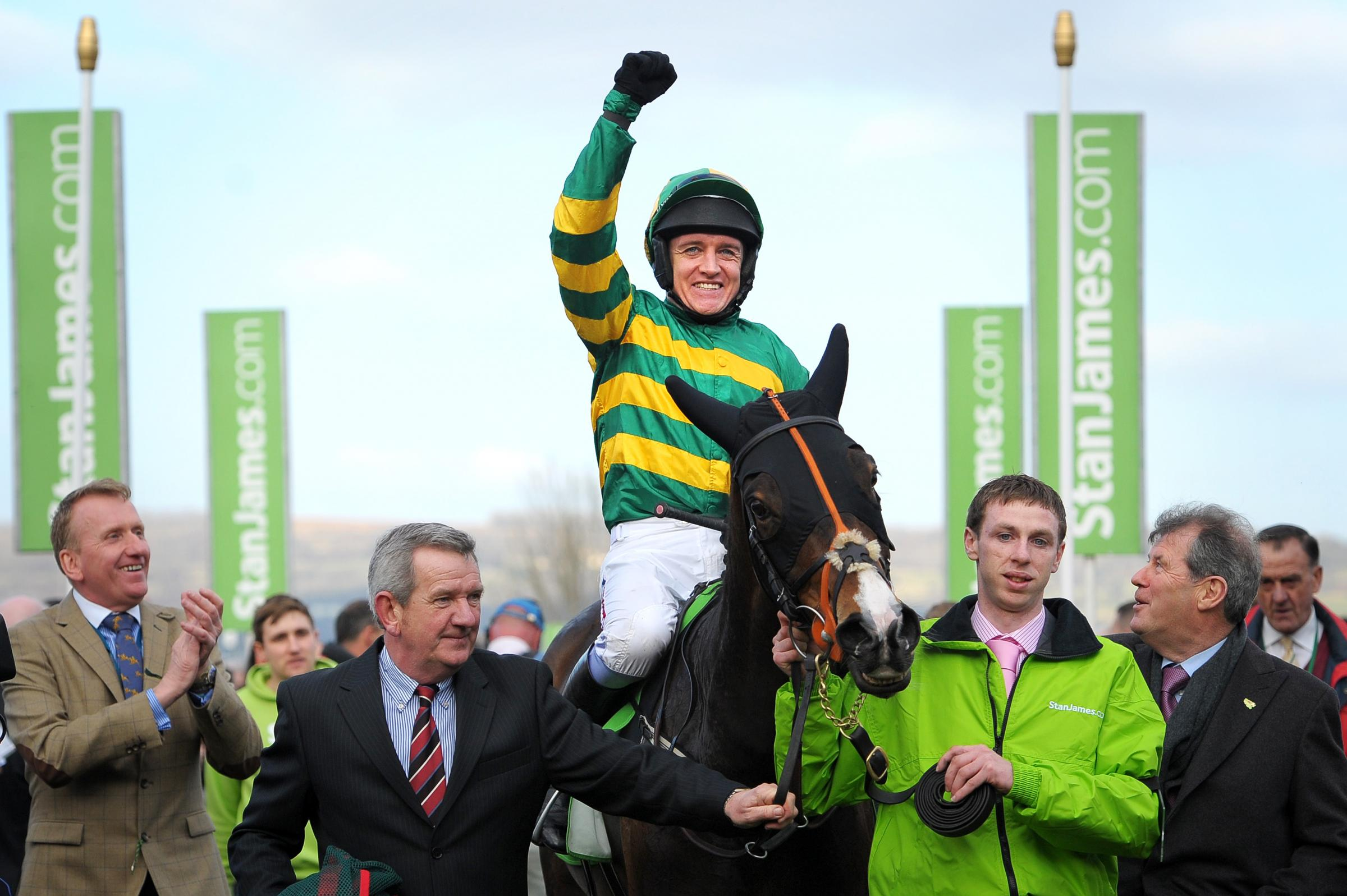 JUST CHAMPION: Barry Geraghty on Jezki celebrates winning the Stan James Champion Hurdle at Cheltenham