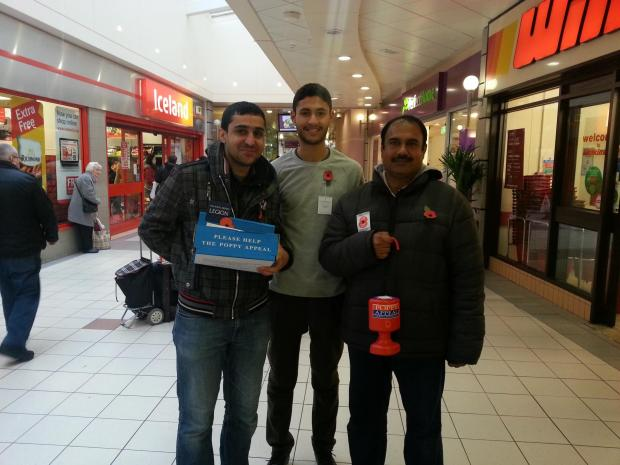 The Northern Echo: CHARITY WORK: Right to left, Zaheer Ahmad, Syed Adil Ahmad and Moaz Ahmad, from Ahmadiyya Muslim Youth Association, collecting for the Popp Appeal at the Castlegate Shopping Centre, in Stockton.