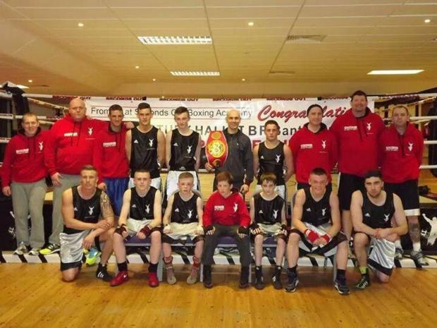 World boxing champion Stuart Hall meets members of the Seconds Out Boxing Academy