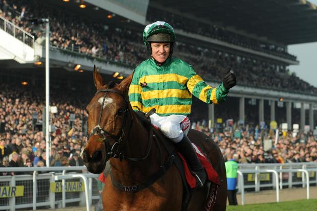 The Northern Echo: DELIGHT: Barry Geraghty celebrates on More Of That yesterday after winning the Ladbrokes World Hurdle at Cheltenham