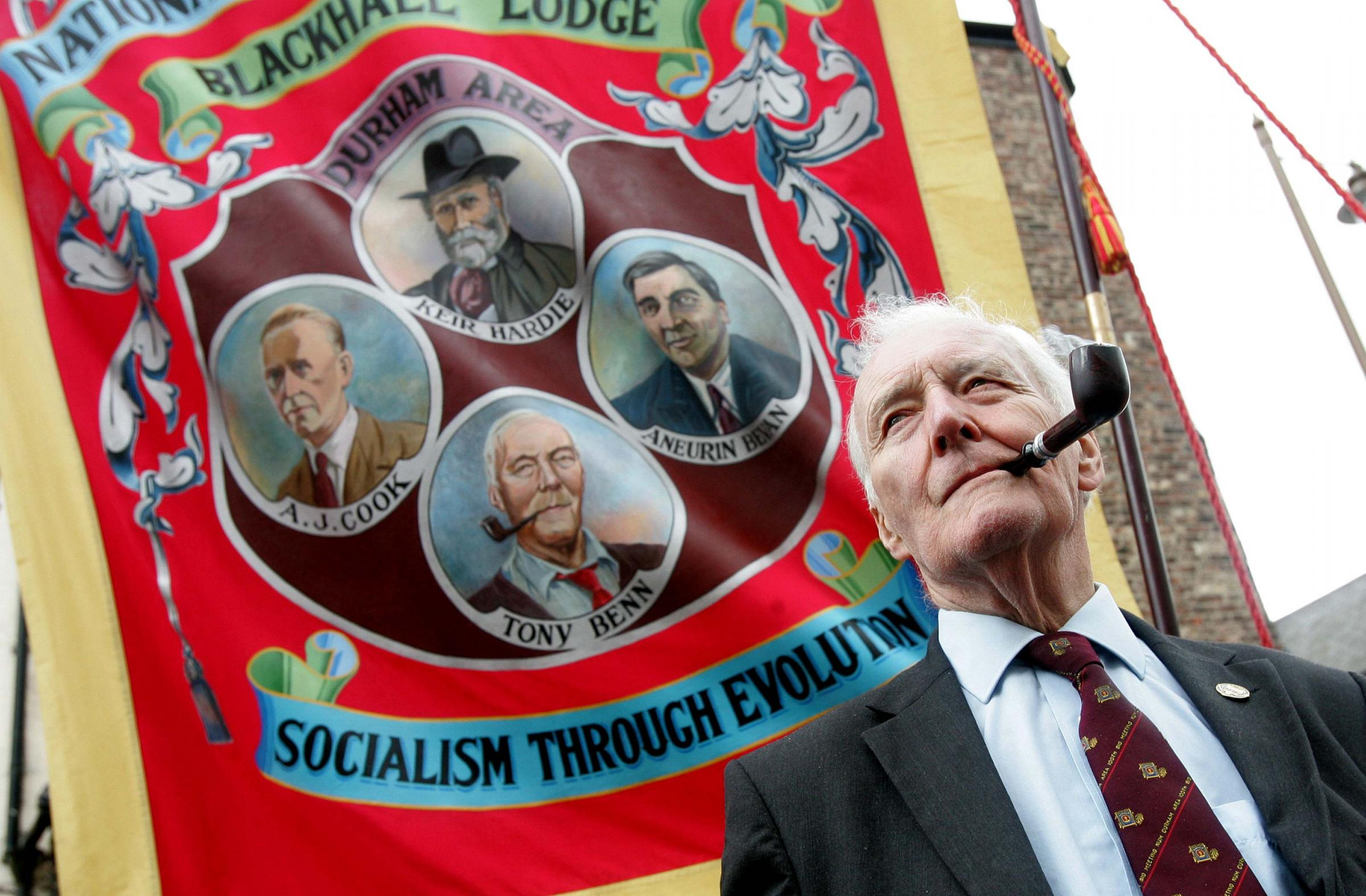 SUPPORTED MINERS: Tony Benn attends the 126th Miners' Gala in Durham