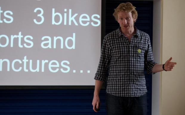 Adventurer Alastair Humphreys speaks to youngsters in Shildon